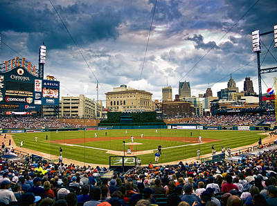 Comerica Park Poster by Cindy Lindow