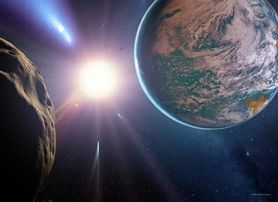 Comet Approaching Earth-like Planet Poster by Detlev Van Ravenswaay