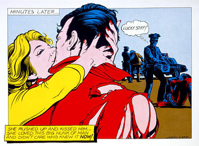 Comic Strip Kiss Poster by MGL Studio