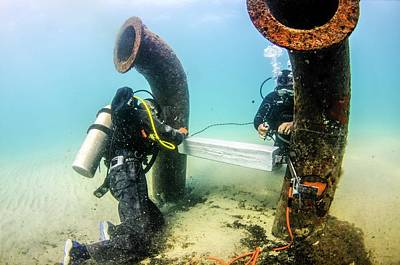 Commercial Divers Underwater Poster by Photostock-israel