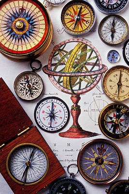 Compasses And Globe Illustration Poster by Garry Gay