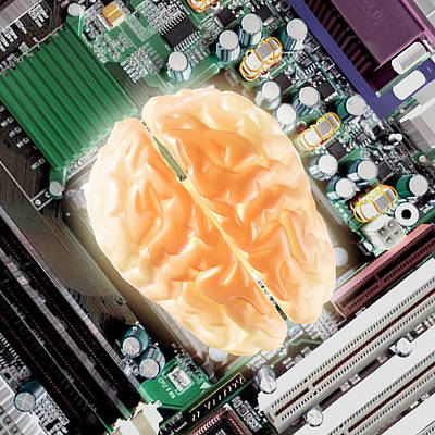 Computer Brain Poster by Christian Darkin