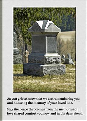 Condolence Photo Greeting Card Poster by Andrew Govan Dantzler