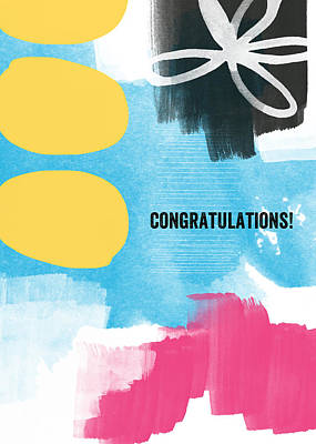 Congratulations- Abstract Art Greeting Card Poster by Linda Woods
