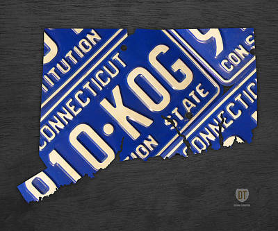 Connecticut State Outline License Plate Map Edition 2 Poster by Design Turnpike