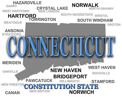 Connecticut State Pride Map Silhouette  Poster by Keith Webber Jr