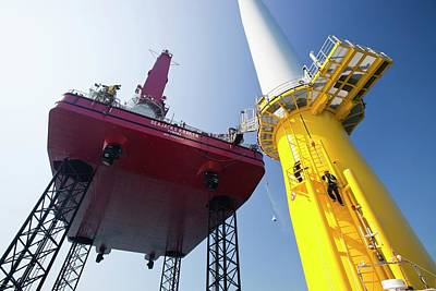 Constructing Walney Offshore Wind Farm Poster by Ashley Cooper