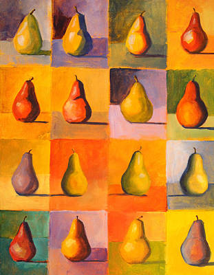 Contemplating The Pear Poster by Nancy Merkle