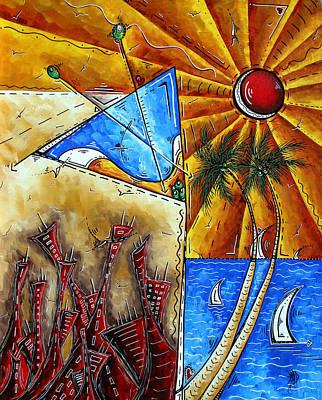 Contemporary Coastal Nautical Tropical Martin Art Original Sailboat Painting Ocean View By Madart Poster by Megan Duncanson