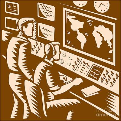 Control Room Command Center Headquarter Woodcut Poster by Aloysius Patrimonio