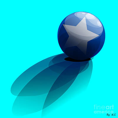 Blue Ball Decorated With Star Turquoise Background Poster by R Muirhead Art