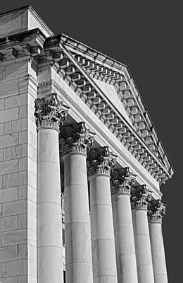 Corinthian Columns Bw Poster by Susan Candelario
