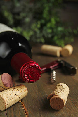 Cork Wine And Bottle Poster by Isabel Poulin