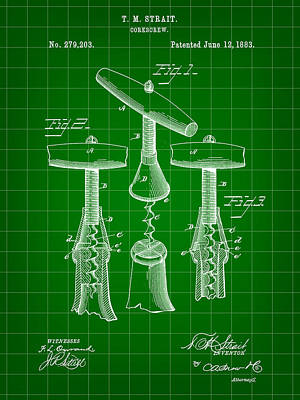 Corkscrew Patent 1883 - Green Poster by Stephen Younts
