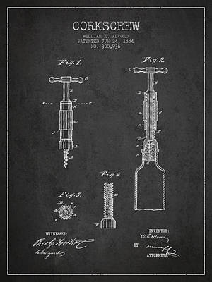 Corkscrew Patent Drawing From 1884 Poster by Aged Pixel