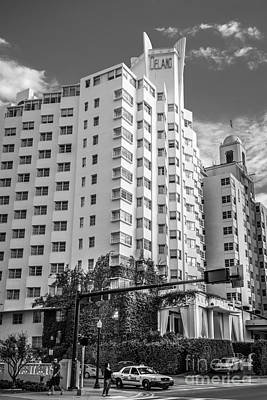 Corner View Of Delano Hotel And National Hotel - South Beach - Miami - Florida - Black And White Poster by Ian Monk