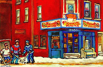 Cornerstore Hockey Game In Verdun Pierrette Patates Restaurant Montreal Verdun Winter Hockey Scenes Poster by Carole Spandau