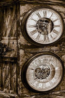 Cornu Clock In Sepia Poster by Susan Candelario