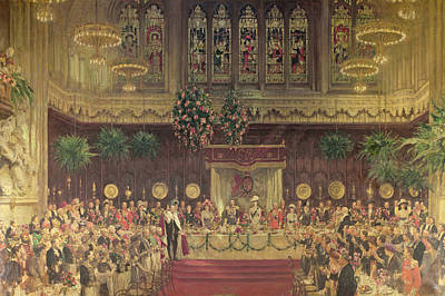 Coronation Luncheon For King George V And Queen Mary In Guildhall, 29th June 1911, 1914-22 Oil Poster by Solomon Joseph Solomon