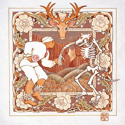 Corrido Del Venado Y Coyote En La Frontera Poster by Ruth Hooper