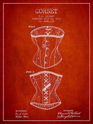 Corset Patent From 1873 - Red Poster by Aged Pixel