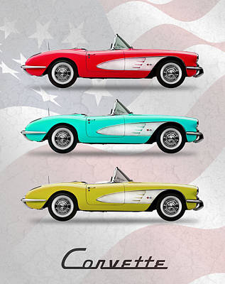 Corvette Collection Poster by Mark Rogan