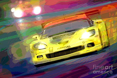 Corvette Thunders At Le Mans Poster by David Lloyd Glover