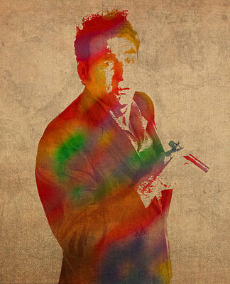 Cosmo Kramer Seinfeld Watercolor Portrait On Worn Canvas Poster by Design Turnpike