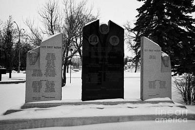 cote keeseekoose and key first nations war memorials in Kamsack Saskatchewan Canada Poster by Joe Fox