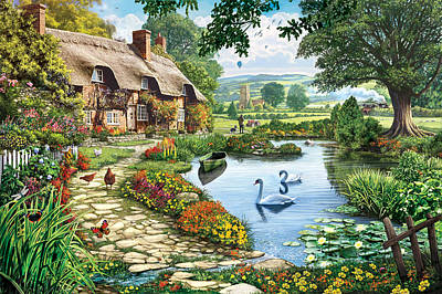 Cottage By The Lake Poster by Steve Crisp