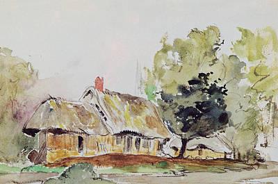 Cottage Under Large Trees In Summer Poster by Ferdinand Victor Eugene Delacroix