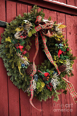 Country Christmas Wreath Poster by John Rizzuto
