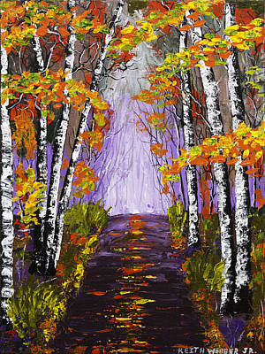 Country Road And Birch Trees In Fall Painting Poster by Keith Webber Jr