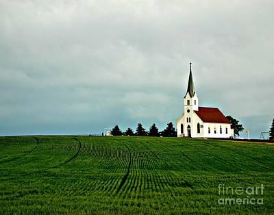 Country Zion Lutheran Church Across Nebraska Wheat Field Poster by Erin Theisen
