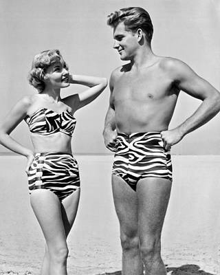 Couple In Matching Attire Poster by Underwood Archives