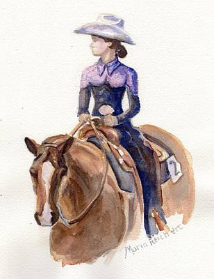 Horse Painting Cowgirl Courage Poster by Maria's Watercolor