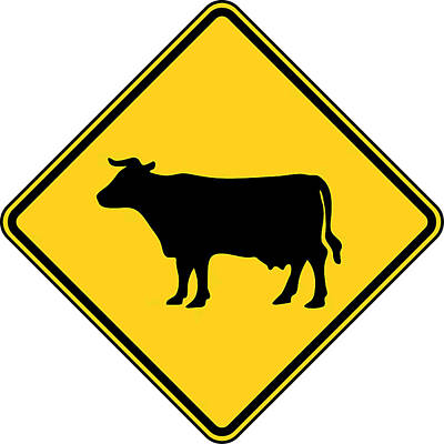 Cow Crossing Sign Poster by Marvin Blaine
