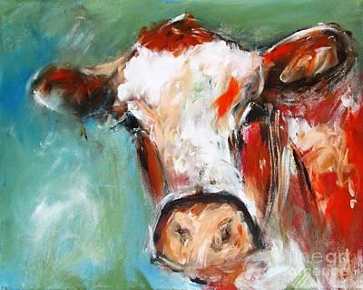 Painting Of Cow Bovine Wall Art  Poster by Mary Cahalan Lee- aka PIXI