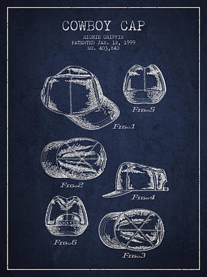 Cowboy Cap Patent - Navy Blue Poster by Aged Pixel