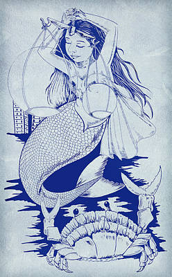 Crab And The Mermaid Poster by Arun Sivaprasad