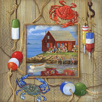 Crab Shack Collage Poster by Paul Brent