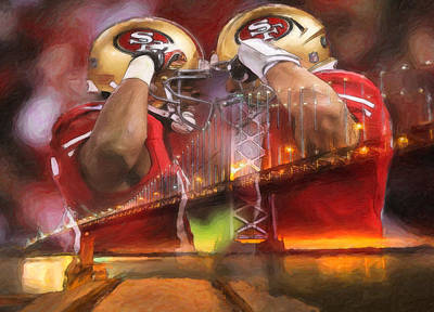 Forty Poster featuring the painting Crabtree And Kaepernick Salute by John Farr