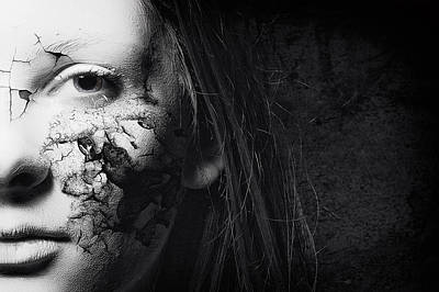 Cracked Face Poster by Erik Brede