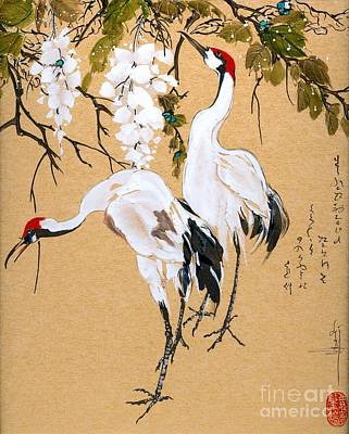 Cranes Under Wisteria Poster by Linda Smith