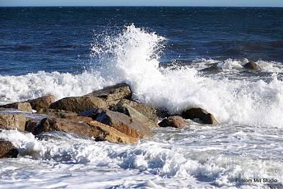 Crashing Surf On Plum Island Poster by Eunice Miller