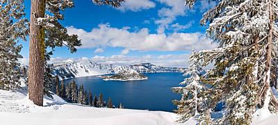 Crater Lake Panorama Poster by Jamie Pham