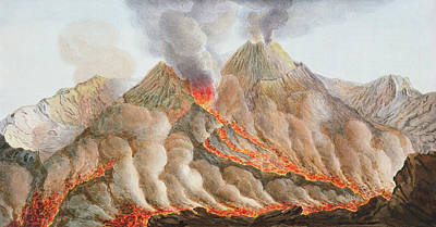 Crater Of Mount Vesuvius From An Poster by Pietro Fabris