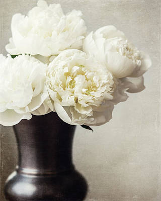 Cream Peonies In A Rustic Vase Poster by Lisa Russo