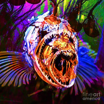 Creatures Of The Deep - Fear No Fish 5d24799 Square V2 Poster by Wingsdomain Art and Photography