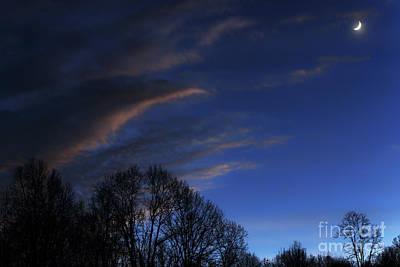 Crescent Moon Landscape Poster by Thomas R Fletcher